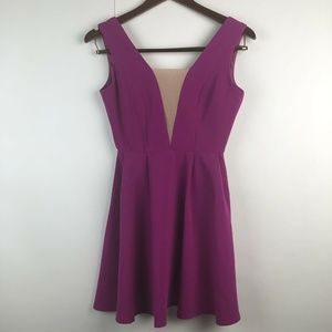 ASOS Fuchsia Sleeveless Deep V Mini Dress